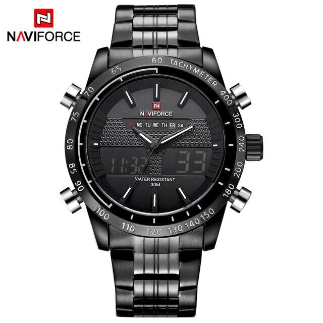 ساعات يد للرجال من NAVIFORCE ساعة كوارتز من الفولاذ بالكامل ساعة تناظرية LED رقمية ساعة يد رياضية عسكرية ساعة رجالية