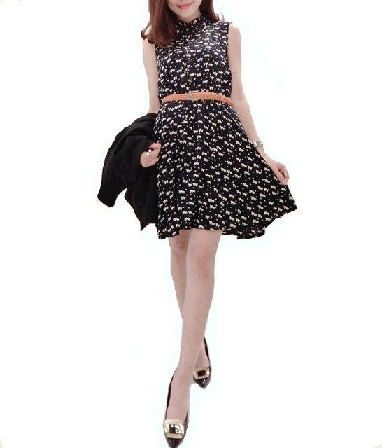 2015 summer new women's fashion europe style casual  sleeveless dresses cat foot print slim shirt dress vestidos with belt