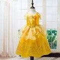 Малыша Девушки Летние Платья Принцессы Костюм Партия Одежды Красавица и чудовище Желтый Платье Без Рукавов Одежды