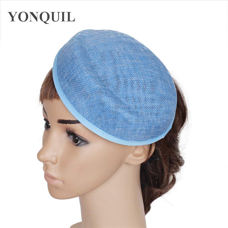 Light Blue Or 15 Color Imitation Sinamay 18CM Fascinator Base Hat Women Party Headpiece Occasion Wedding Hair Accessory 5pcs/lot