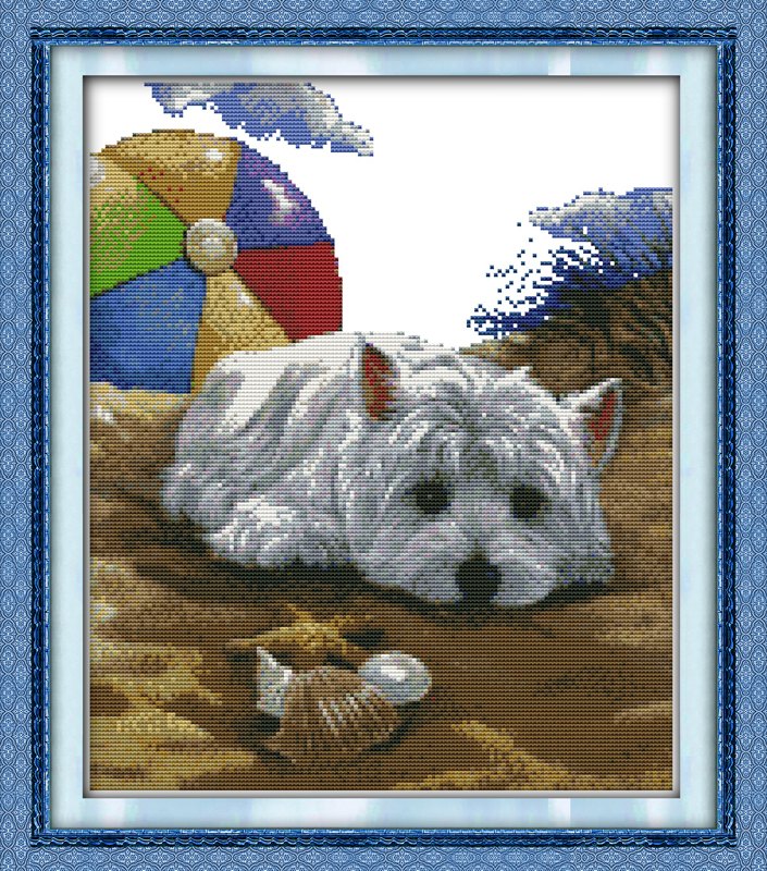 love-sickness-little-dog-counted-11ct-printed-14ct-cross-stitch-set-diy-chinese-cotton-cross-stitch-kit-embroidery-needlework