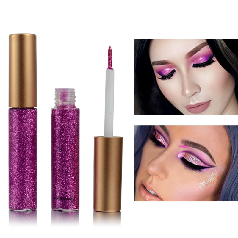 Shiny Eye Liners Waterproof Glitter Eyeliner Makeup Silver Rose Gold Liquid Eyeliner Women Shimmer Pigment Cosmetics