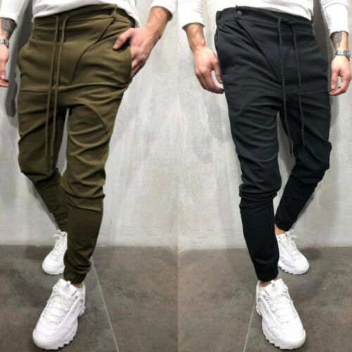 Stylish Hot Sale Men Solid-color Lace-up Pockets Slim Casual Pants Sport Gym Pants Slim Fit Running Joggers Long Trousers M-XXL