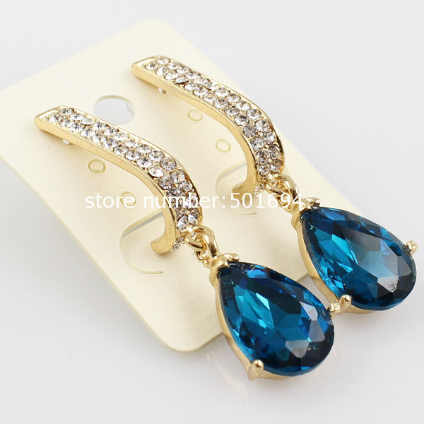 Beautiful Earring Designs For Women Dark Shiny Blue And White Crystal Stone 2017 Eaje0066a