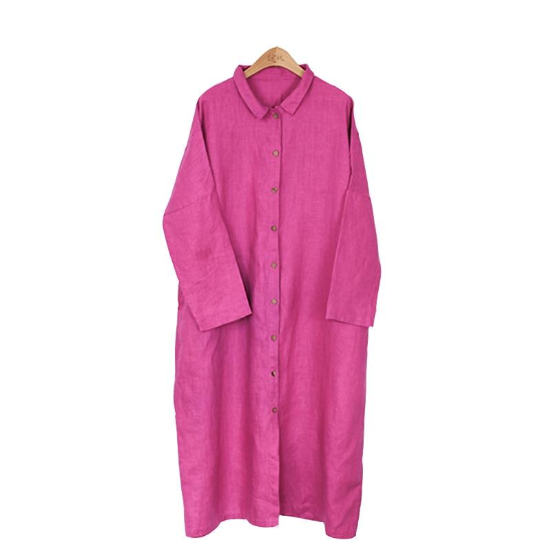 2018 Nouveau Pink Longue Coton Printemps Hot H018 Poitrine Rose Unique Chemise Lin Robe rrfqw4d