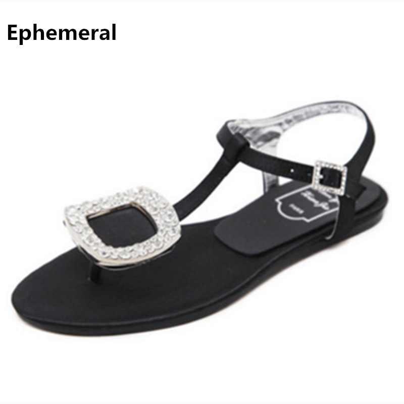 a169baff75e26 Ladies Silk Flip flops High quality Rhinestone Buckle Flats Sandals Black  Silver Plus size 11 34