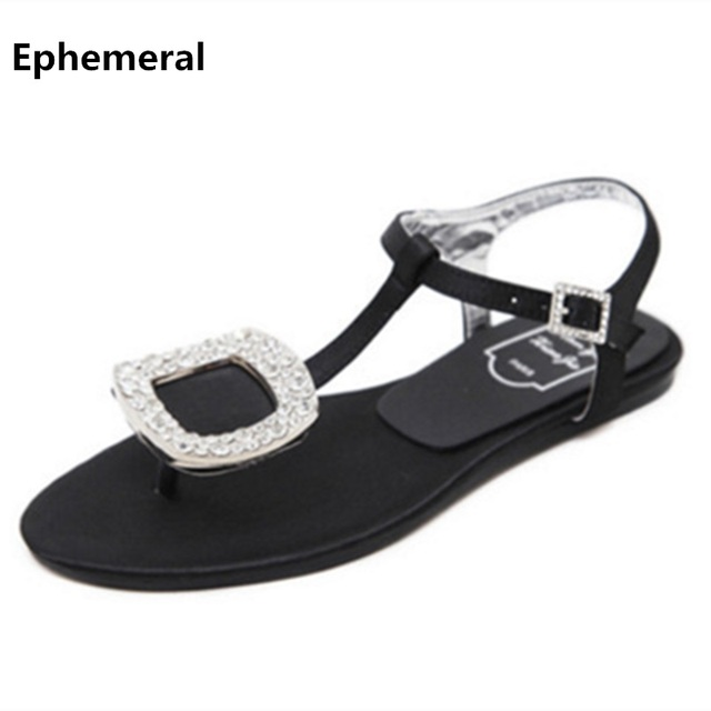 652bb0f63 Ladies Silk Flip flops High quality Rhinestone Buckle Flats Sandals Black  Silver Plus size 11 34 T-Strap Rome Shoes Fashion Cute