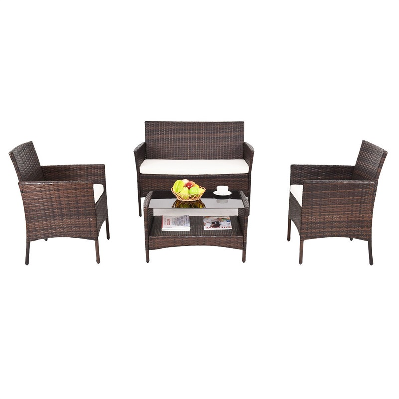 4 Pcs Modern Outdoor Furniture Garden Patio Rattan Table And Chair