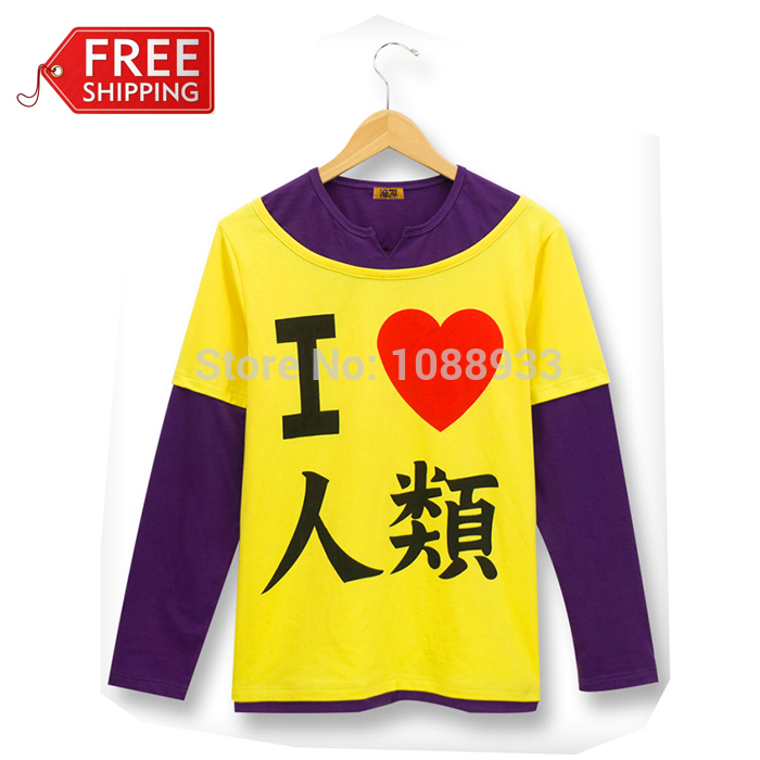 Anime Cosplay No Game No Life Sora  I Love Human T-shirt Cosplay Costume Special Gift for Halloween Costume for Men Wholesale
