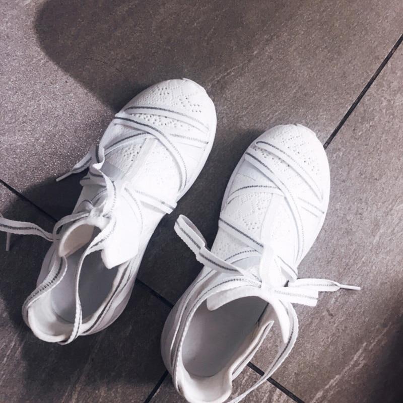 Frauen Sneakers as Stricken Atmungs Picture Leder Wohnungen Lace Casual Cut Out Kreuz Picture Mesh Outdoor As Up Frau Hohe Gebunden Top Schuhe qROz6Iw