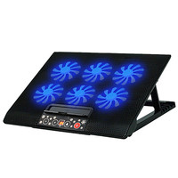 LED Adjustable Stand USB 6 Fan Cooling Cooler Pad For 12 17inch Laptop PC Black Aug29