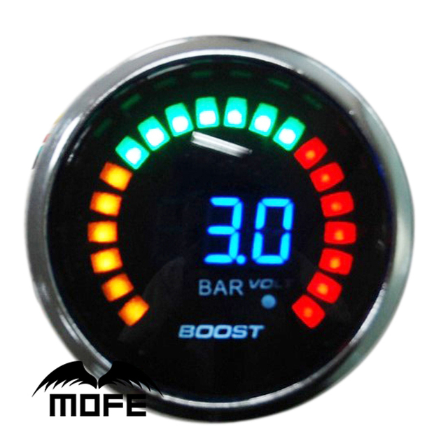 "3PCS Original Logo 52mm 2"" 20 LCD Digital Bar Turbo Boost Auto Gauge for Car With Stepper Motor"