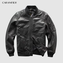 CARANFEIR 100% Sheepskin Mens Genuine Leather Jackets New Style Clothes Tactical Bomber Jacket Coats DHL Free Shipping