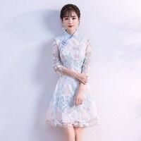 Summer Wedding Party Cheongsam Chinese Traditional Womens Elegant Slim Qipao Evening Dress Sexy Mini Robe Retro Vestidos S XXL