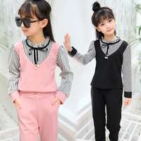 Hot 2018 Spring Autumn New Girls Long Sleeve Clothing Set Children's Stripes Spliced Tops + Pants 2 Pcs Kids Cute Clothes A652