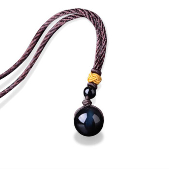 Black Obsidian Rainbow Eye Beads Ball Natural jade Pendant Transfer Necklace Jewelry Amulet Gifts Man Women New charm gifts image