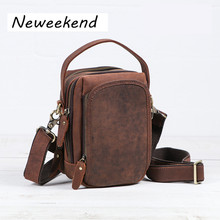 NEWEEKEN 3612 Vintage Genuine Leather Crazy Horse Waist Bag Fanny Pack Belt Loops Hip Bum Bag Wallet Purses Phone Pouch for Man