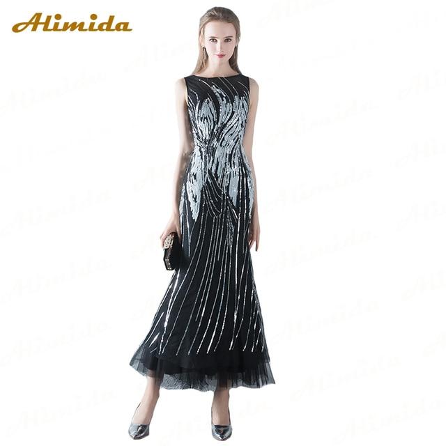 8fe246665e Alimida 2018 nueva llegada vestido de noche sirena negro tobillo-longitud  Lentejuelas Vestidos de baile. Sitúa el cursor encima para ...