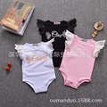 Baby Girl Bodysuit Short Lace Angel Wings Newborn Baby Summer Clothes Infant Baby Cotton Jumpsuit Princess birthday 3 colors
