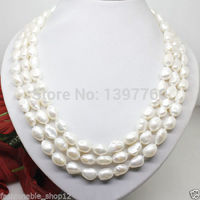 Miss charm Jew.149 natural 7 8mm white pearl long necklace big baroque beads 100 inches