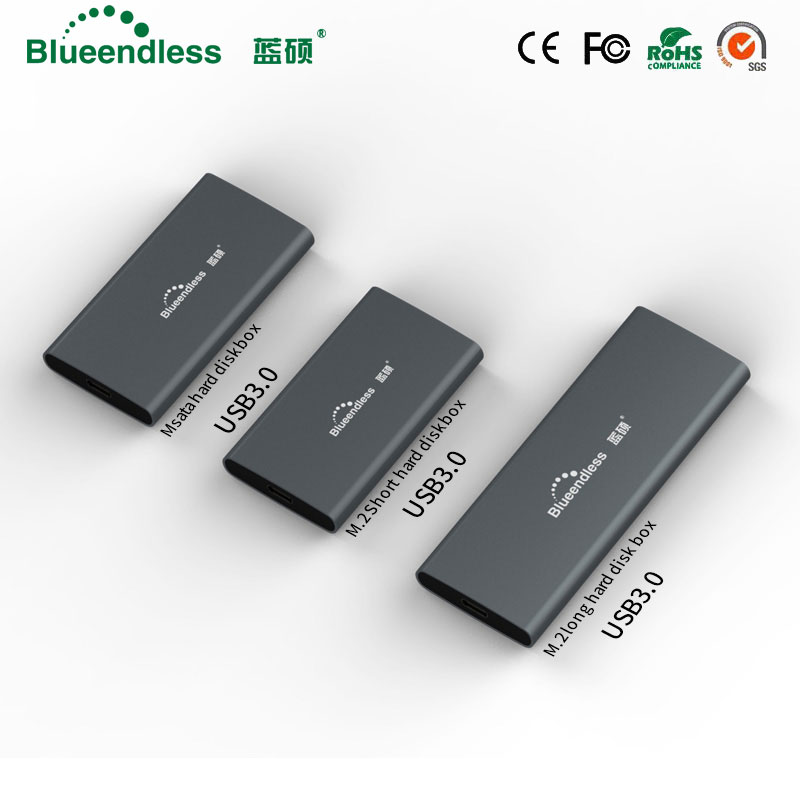 New product Aluminum m.2 ssd case portable hard disk msata to usb type c msata case 2242/2260/2280 hard drive msata enclosure(China)
