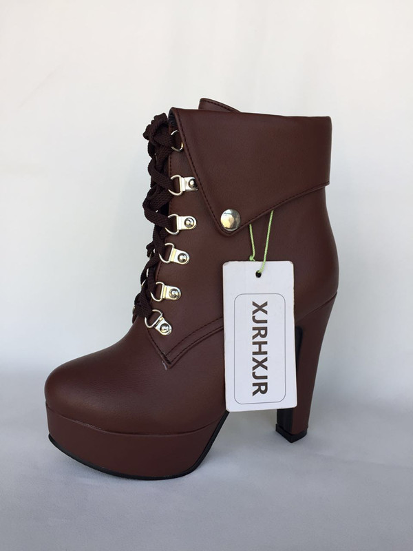 XJRHXJR Plus Size 33 43 Platform High Heels Boots Lace Up Chunky ... 83f2184ae0fc