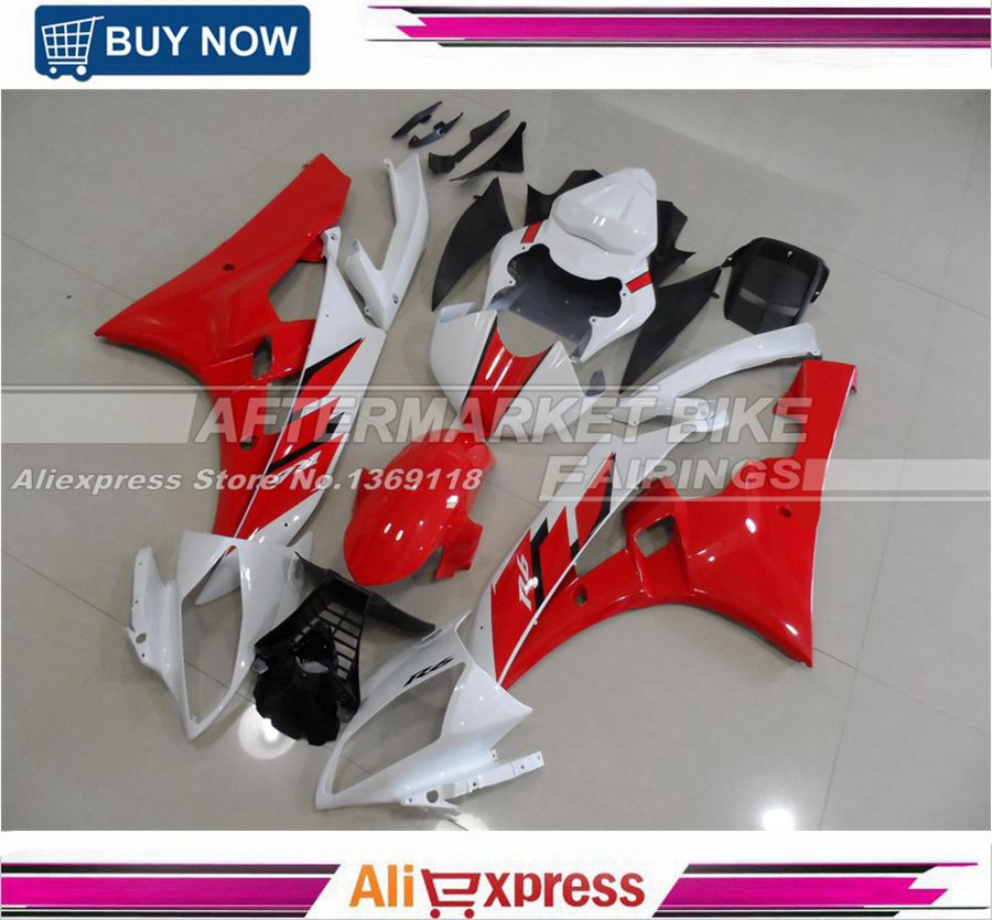 100% Easy Installation Complete ABS Fairing Kit For Yamaha YZF R6 2006 2007 Injection Bodywork Red & White 06 07 hot sales yzf600 r6 08 14 set for yamaha r6 fairing kit 2008 2014 red and white bodywork fairings injection molding