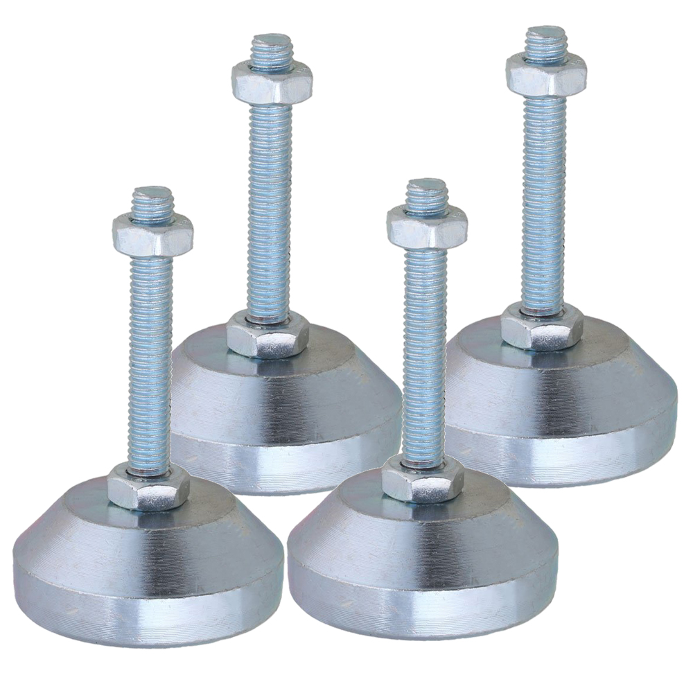 4 Pieces Carbon Steel 50mm Dia M8x50mm Thread Fixed Adjustable Feet For Machine Furniture Feet Pad Max Load 1.5Ton