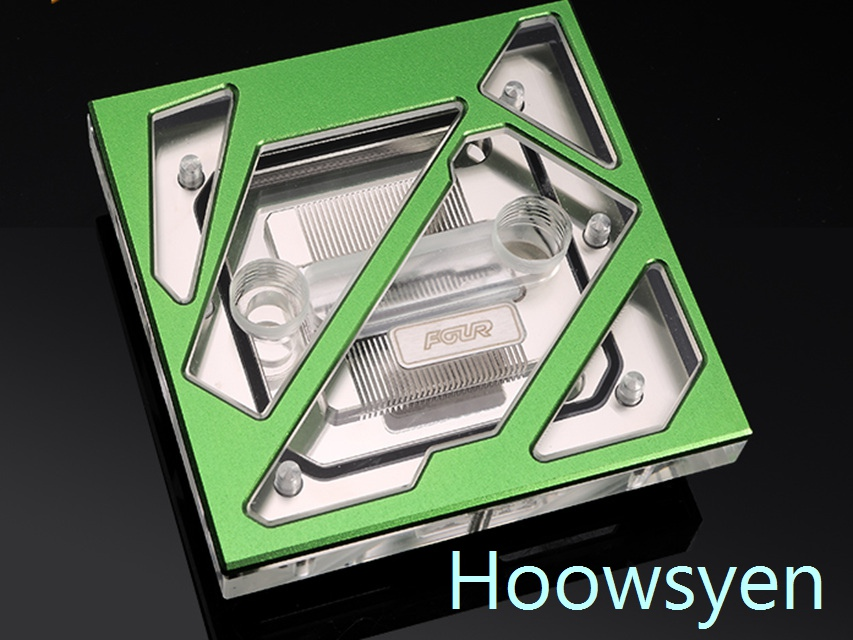 FOUR FR-CU-RA CPU water cooling head appearance breaks through the traditional design concept green