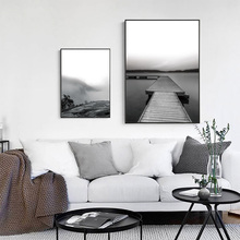 Black and White Pictures Scenery Nature Poster Nordic Sea Canvas Painting Bridges Mountains Art Print Unframed