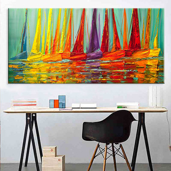 Hand painted canvas oil paintings Wall art Pictures for living room Large Cheap modern abstract Yacht painting boat ship sailing