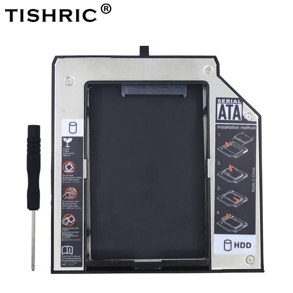 "TISHRIC Aluminum 2nd HDD Caddy 12.7mm SATA 3.0 2.5""SSD HDD DVD Case  Enclosure"
