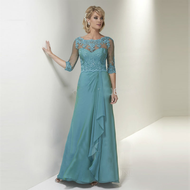 Elegant Turquoise Lace Mother Of The Bride Dresses 2016 With Sleeves Chiffon Evening Gowns Groom