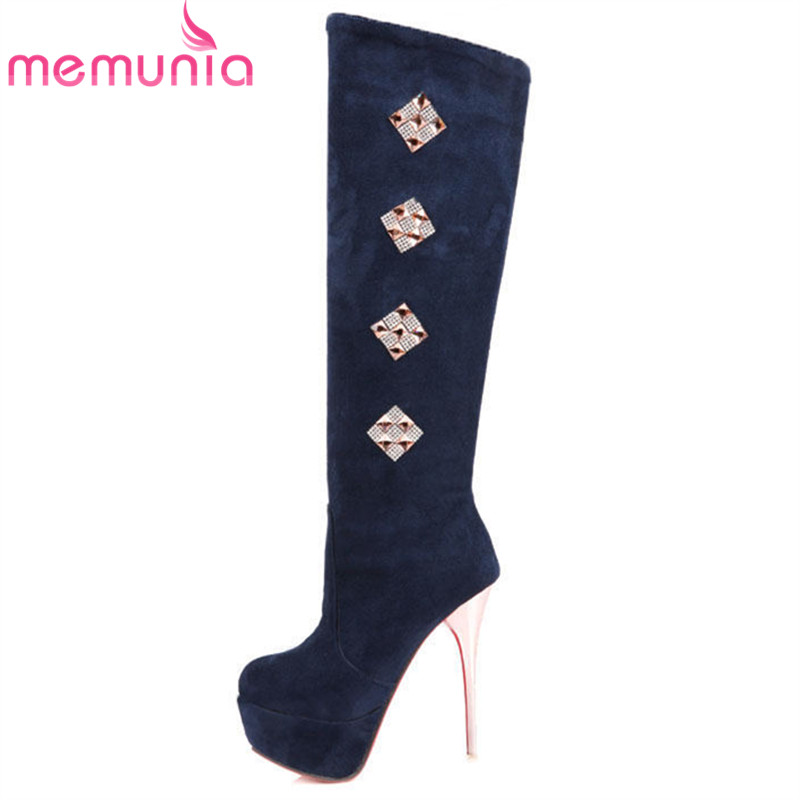 ФОТО large size 34-43 knee high boots for women round toe flock leather high quality stiletto high heel winter boots