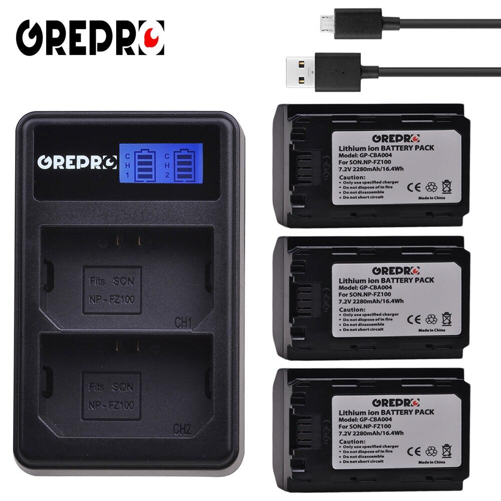 GREPRO 3pcs 2280mAh NP FZ100 NP-FZ100 Camera Battery+USB LCD Charger for Sony BC-QZ1,Sony a9,a7R III,a7 III,ILCE-9 bateria AKKU durapro 4pcs np f970 np f960 npf960 npf970 battery lcd fast dual charger for sony hvr hd1000 v1j ccd trv26e dcr tr8000 plm a55