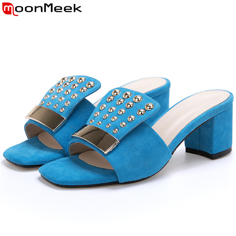 MoonMeek 2019 summer new shoes woman square high heels shoes suede leather shoes women rivet sandals women Casual ladies shoes MoonMeek 2019 summer new shoes woman square high heels shoes suede leather shoes women rivet sandals women Casual ladies shoes