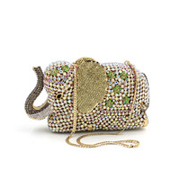 New Fashion Women Arrival Deluxe Crystal Evening Bags Elephant Shape Clutches Wedding Party Bag Mini Small