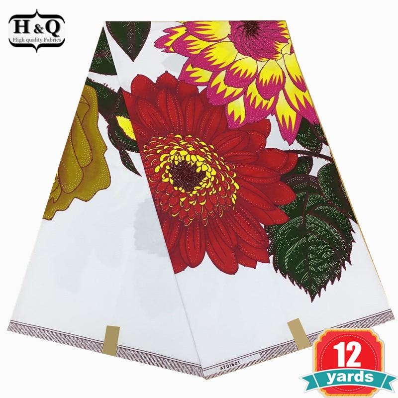 H&Q Popular african wax prints fabric super wax hollandais Good quality12 Yds african wax fabric cotton on sale For garments