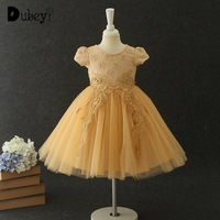 Mustard Yellow Princess Costumes for Flower Girl Elegant Girl Party Dress Kids Tutu Dress for Birthday and Wedding