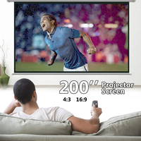Portable 4:3 Projector Screen 200 inch Foldable Canvas Matt White Projection Screens Indoor Otdoor Travel 3D Home Theater