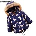 WEONEWORLD 2017 New Children Long Sleeve Hooded Butterfly Print Jacket Kids Fur Collar Warm Outwear Girls Winter Floral Coat