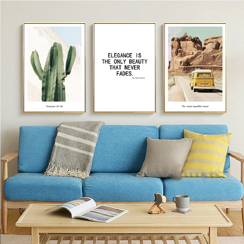Art print POSTER CANVAS Green Cactus and Yellow Wall