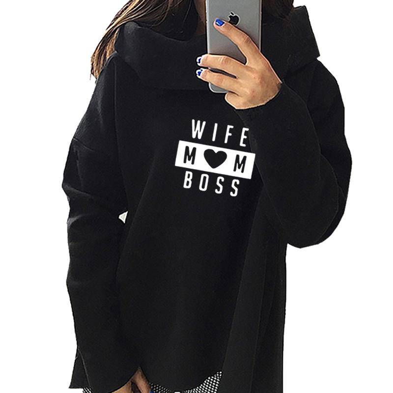 2019 New Fashion Wife Mom Boss Print Sweatshirt Femmes Hoodies Sweatshirts  Hoody Pattern Comfortable