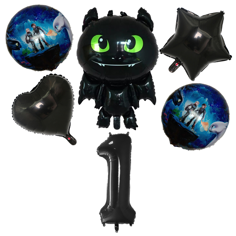 6pcs/set Toothless Number 0-9 Foil Balloons How To Train Your Dragon Theme Ballons Birthday Wedding Party Decorations Kids Toys
