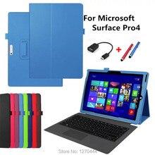 Tirón de lujo Caso de Cuero Para Microsoft Surface Pro 4 Pro 3, moda Colorida Cubierta Del Soporte Para Microsoft Surface Pro 2017 Tablet
