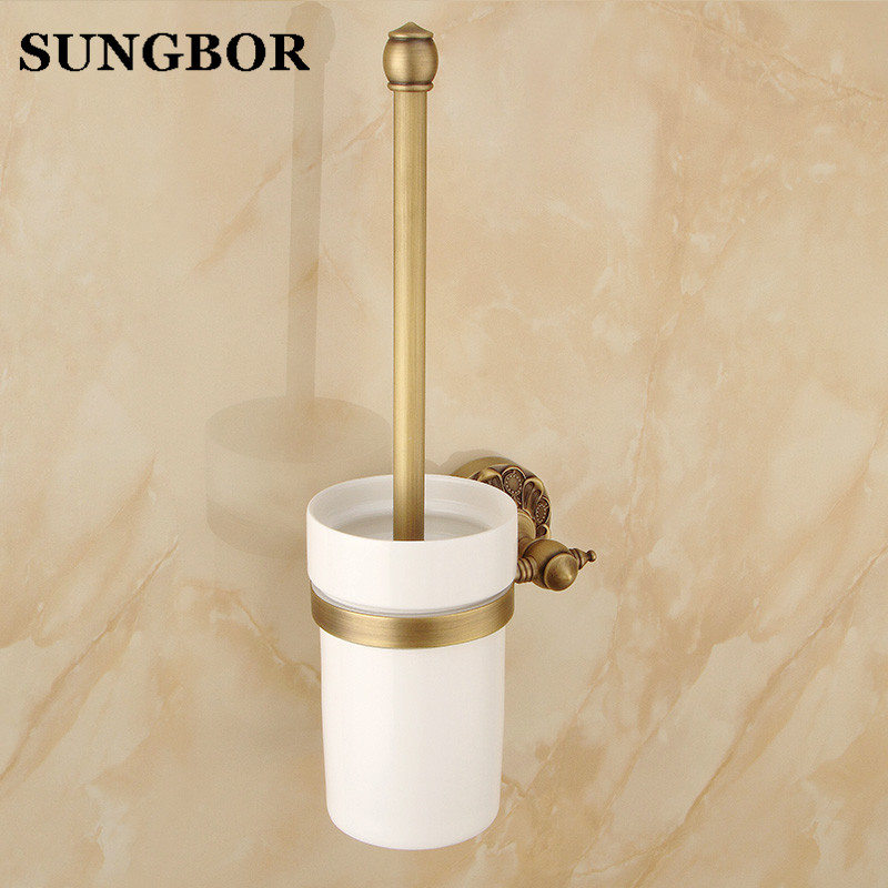 Toilet Cleaning Wall Mounted European style Antique Brass Toilet Brush Holder Bathroom Products Bathroom Accessories ZL-8709F european luxury bathroom accessories antique bronze toilet brush holder bath products high quality free shipping