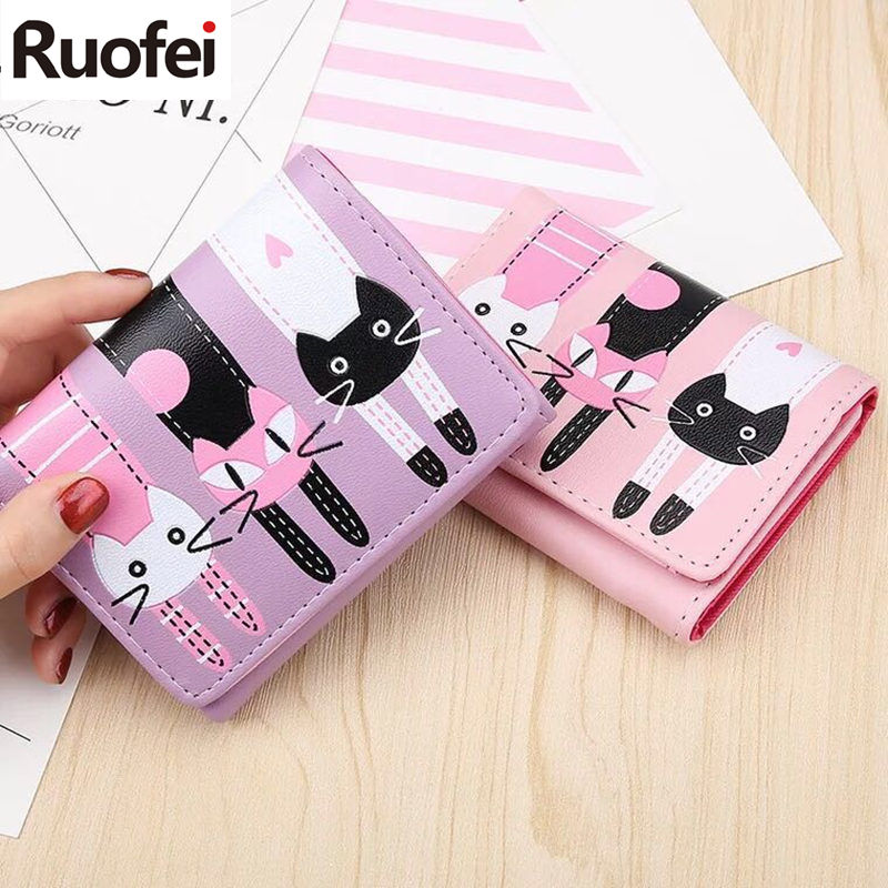 2019 Europe women Cat Cartoon Wallet Creative Female Card Holder Casual Ladies Clutch PU Leather Coin Purse ID Holder A38