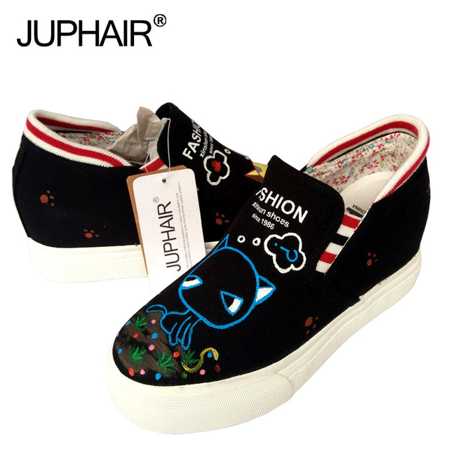 JUP Women Girls Hand-painted Inside the Increase Canvas Pedal Student Board Shoes Graffiti Leisure Low to Help Small Fresh Shoes