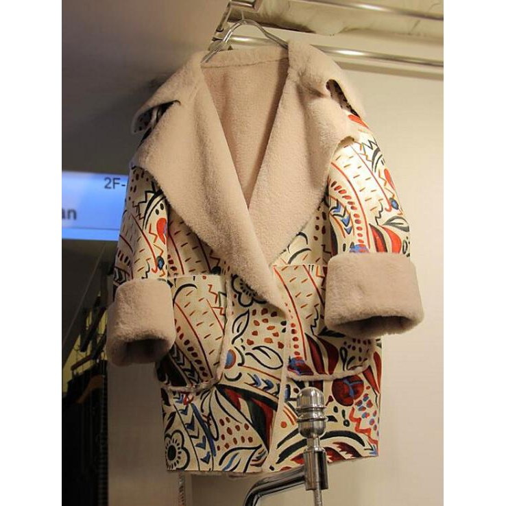 New Women's Autumn Winter Retro Printed Pattern Long Cotton Jacket Cashmere Coat Casual Cotton-padded Jacket Outwear