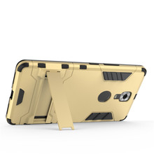 Luxury Soft Silicon + PC Hard Armor Iron Man Case For Gionee M6 Plus Phone Anti-knock Back Cover With Stand